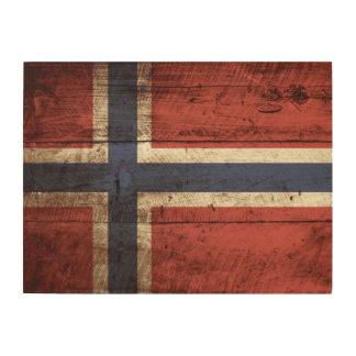 Norway Flag on Old Wood Grain Wood Wall Decor
