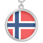 Norway Flag Round Pendant Necklace