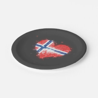 Norway Flag Shining Beautiful 7 Inch Paper Plate