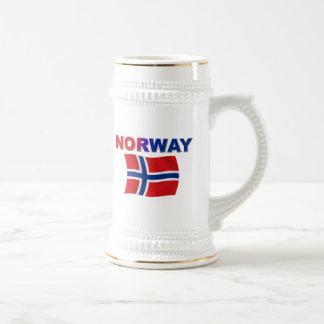 Norway Flag w/inscription 18 Oz Beer Stein