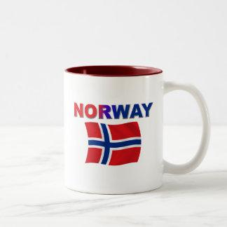 Norway Flag w/inscription Two-Tone Coffee Mug