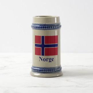 Norway Flag with Name in Norwegian Beer Stein