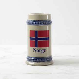 Norway Flag with Name in Norwegian 18 Oz Beer Stein