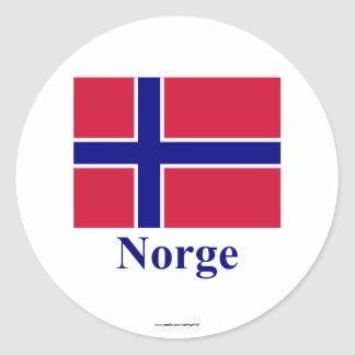 Norway Flag with Name in Norwegian Stickers