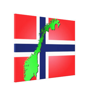 Norway flag with the country in green on it, norge gallery wrap canvas