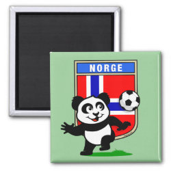 Square Magnet with Norway Football Panda design