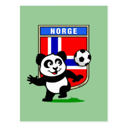 Postcard with Norway Football Panda design