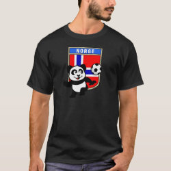 Men's Basic Dark T-Shirt with Norway Football Panda design