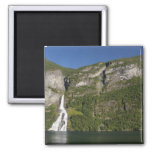 Norway, Geirangerfjord (UNESCO), Geiranger. 2 Inch Square Magnet