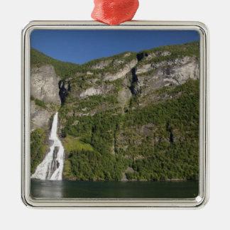 Norway, Geirangerfjord (UNESCO), Geiranger. Square Metal Christmas Ornament