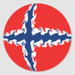 Norway Gnarly Flag Classic Round Sticker