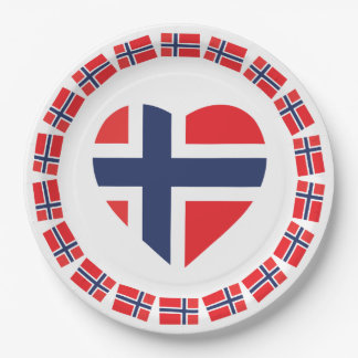 NORWAY HEART SHAPE FLAG PAPER PLATE