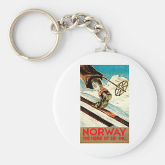 Norway - Home of Skiing Travel Art Basic Round Button Keychain