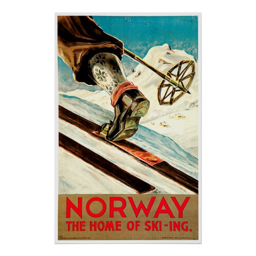 Norway - Home of Skiing Travel Art Poster