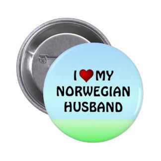 Norway: I LOVE MY NORWEGIAN HUSBAND Pinback Button