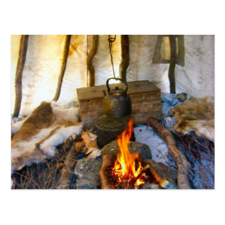 Norway, inside a Sami tent, Lapland Postcard