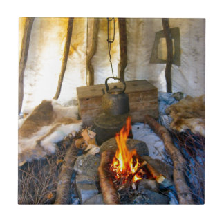 Norway, inside a Sami tent, Lapland Tile