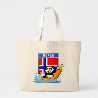 Norway Kayaking Panda Large Tote Bag