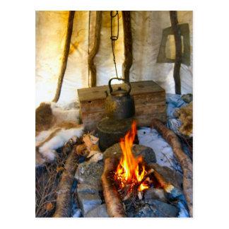 Norway, Lapland  Inside a Sami tent Postcard