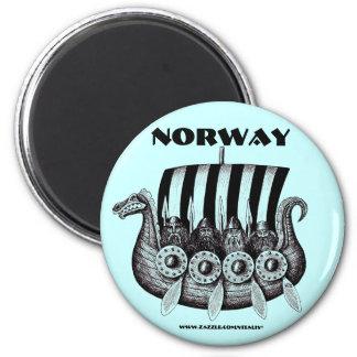 Norway magnet with vikings in drekar pen ink art