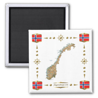 Norway Map + Flags Magnet