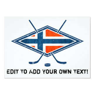 Norway Norge Ice Hockey Logo 5x7 Paper Invitation Card