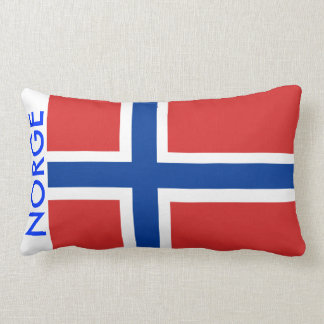 Norway / Norge Norwegian Flag with Text Accent Lumbar Pillow
