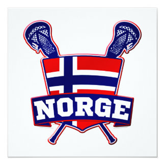 """Norway Norsk Lacrosse 5.25"""" Square Invitation Card"""