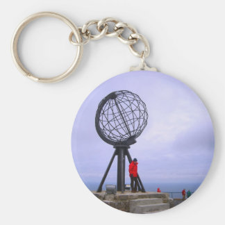 Norway, North Cape, globe symbol Basic Round Button Keychain