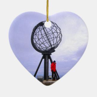 Norway, North Cape, globe symbol Ceramic Ornament