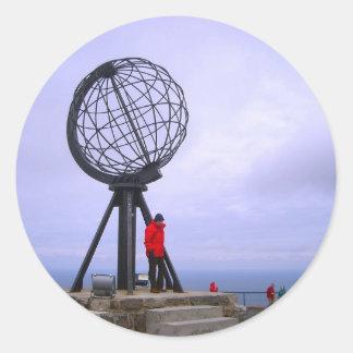 Norway, North Cape, globe symbol Classic Round Sticker