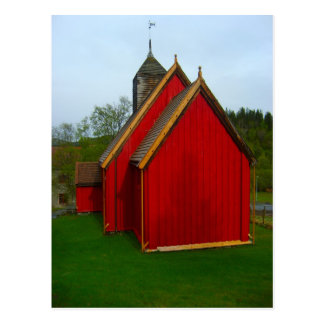 Norway, Red painted village church Postcard