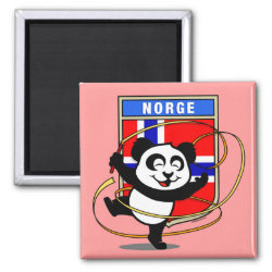 Square Magnet with Norwegian Rhythmic Gymnastics Panda design