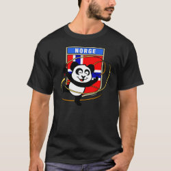 Men's Basic Dark T-Shirt with Norwegian Rhythmic Gymnastics Panda design