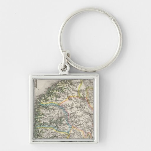 Norway Silver-Colored Square Keychain