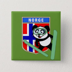 Square Button with Norwegian Ski-jumping Panda design
