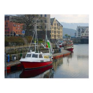 Norway, small fishing boat in Bergen Postcard