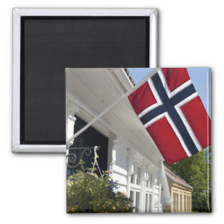 Norway, Stavanger. Historic downtown views. 2 Inch Square Magnet