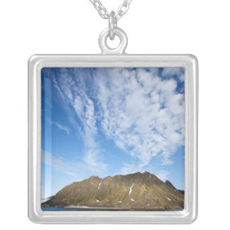 Norway, Svalbard, Clouds above steep cliffs Silver Plated Necklace