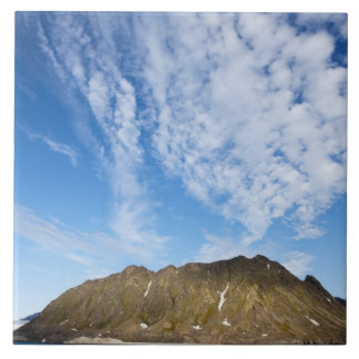 Norway, Svalbard, Clouds above steep cliffs Large Square Tile