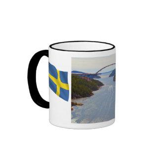 Norway, Sweden border, Swinisund new bridge Ringer Mug