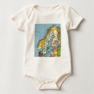 Norway Sweden Denmark Map Design Baby Bodysuit