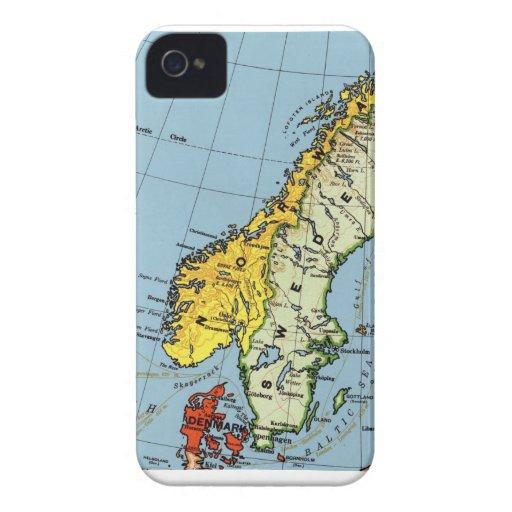 Norway Sweden Denmark Map Design iPhone 4 Covers