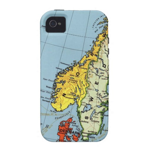 Norway Sweden Denmark Map Design Case For The iPhone 4