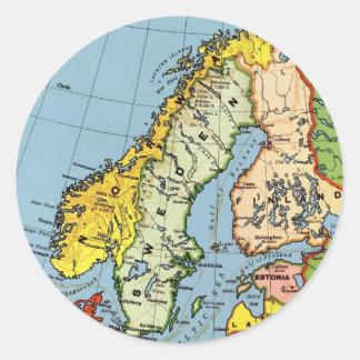 Norway Sweden Denmark Map Design Classic Round Sticker