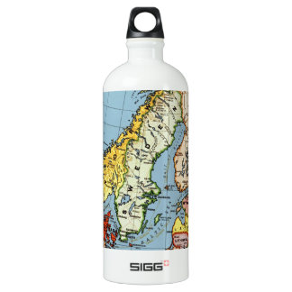 Norway Sweden Denmark Map Design Water Bottle