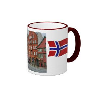 Norway, Tall wooden building in Bergen Ringer Mug