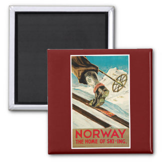 Norway The Home of Skiing Vintage Travel Poster Magnet