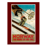 Norway The Home of Skiing Vintage Travel Poster Postcard