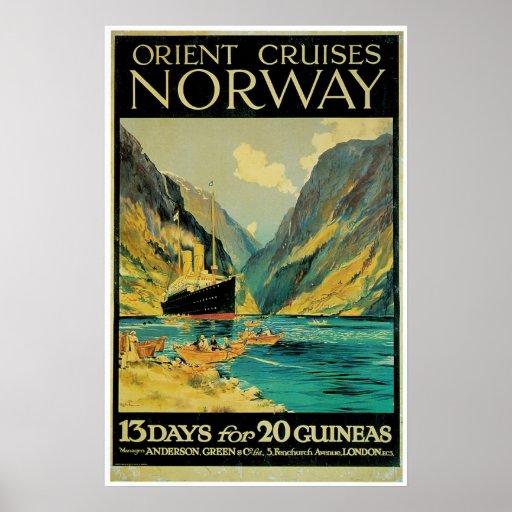 Norway Travel - Vintage Ship Advertisement Poster